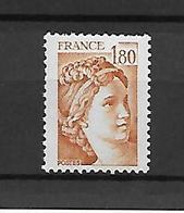 FRANCE - TRES BEAU TIMBRE NEUF * * SANS BANDE DE PHOSPHORE N°2061a - COTE 100€  -DE1979-SCAN DU VERSO..j - 1977-81 Sabine De Gandon