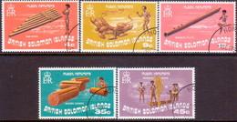 BRITISH SOLOMON ISLANDS 1973 SG #240-44 Compl.set Used Musical Instruments - British Solomon Islands (...-1978)