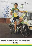 CARTE CYCLISME ROBERTO CONTI SIGNEE TEAM SELCA 1987 - Cyclisme