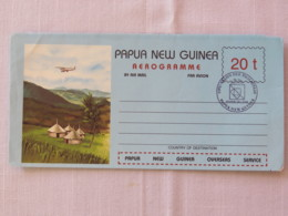 Papua New Guinea 1984 Special Hamburg Cancel On Stationery Aerogramme - Plane Over Village - Papua-Neuguinea