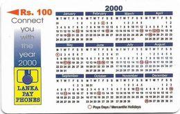Sri Lanka - Lanka Pay Phones (GPT) - Calendar 2000 - 44SRLB - 100Rs, Used - Sri Lanka (Ceilán)