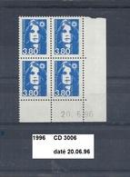 Variété CD4 De 1996 Neuf** Y&T N° 3006 Daté Du 20.06.96 - Ecken (Datum)