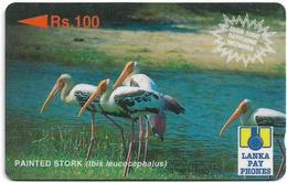 Sri Lanka - Lanka Pay Phones (GPT) - Painted Stork - 32SRLE (Letter B, Dashed Zero Ø), 100Rs, Used - Sri Lanka (Ceylon)