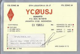 ID.- QSL Card. INDONESIA. YCØUSJ Ex YDØUSJ. SUNARTO. JAKARTA. ORARI. - Radio-amateur
