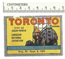 B55-06 CANADA 1923 Toronto Canadian National Exhibition MNH Cheap Power Damaged - Viñetas Locales Y Privadas