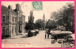 Marsanne - L'Hôtel De Ville Et L'Eglise - Jour De Marché - Animée - Edit. Papeterie CHAPUIS - Cliché A. LANG - 1907 - France