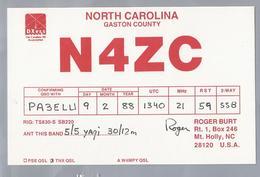 US.- QSL KAART. CARD. N4ZC. ROGER BURT, Mt. Holly, NC. U.S.A.. GASTON COUNTY. DX Ers. NORTH CAROLINA. - Radio-amateur