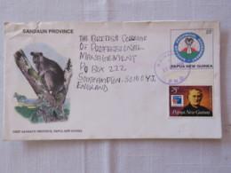 Papua New Guinea 2000 Stationery Cover To England - Arms Of Sandaun Province - Kangaroo - PHILEX France - Father Jules C - Papua-Neuguinea