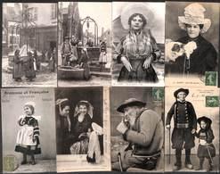 Lot 16 Cartes - Folklore Auvergne Coiffe Costume Coiffure Charente Animation Calais Fumeur...) - Folklore