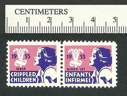 B55-29 CANADA 1955 Crippled Children Easter Seals MNH English & French - Viñetas Locales Y Privadas