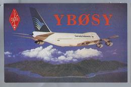 ID.- QSL Card. INDONESIA. ORARI - YBOSY. GARUDA - PK GSA. Boeing 747-2U3B. 11 MEI 1988. OP. SUWANTO HENDRAYUDO. JAKARTA - Radio-amateur