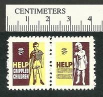B55-31 CANADA 1958 Crippled Children Easter Seals MNH English Pair - Viñetas Locales Y Privadas