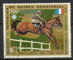 Guinée Equatoriale - Guinea 1972 Y&T N°25-1p - Michel N°(?) (o) - 1p JO Munich 72  Chevallier - Guinée Equatoriale