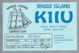 US.- QSL KAART. CARD. K1IU. RHODE ISLAND. JEFF BOUVIER, CUMBERLAND, RI. U.S.A. YANKEE CLIPPER. CONTEST CLUB - Radio-amateur