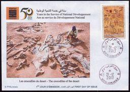 DZ 2013 - FDC - Prehistory Fossiles - Tassili Felszeichnungen Crocodiles Krokodile Cocodrilos Fossilien Paleontology - Prehistorics