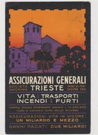 Assicurazioni Generali,  Pubblicitaria Illustrata, Con 2 PERFIN  A.G. Dell'Agenzia Di Venezia - F.p. - Anni '1920 - Pubblicitari