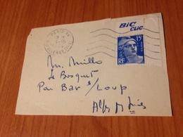 """Lettre Affranchie Avec Numero 886 Pub  """" Bic Clic"""" 1954-  ( Port à Ma Charge ) - Publicités"""