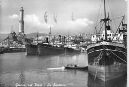 "M08532 "" GENOVA NEL PORTO-LA LANTERNA""NAVI:ORBIS-VALFIORITA-GENEROSO ALL'ANCORA -CART. ORIG. SPED.1955 - Genova"