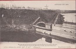 Spaanse Omwalling  Antwerpen Anvers Ecluse De La Courtine Entre La Porte Slijk Et La Porte Rouge 1860 (zeer Goede Staat) - Antwerpen