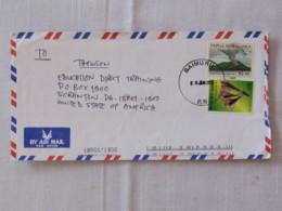 Papua New Guinea 2002 Cover To USA - Volcano Rabaul (Scott (($ = 3.5 $) - Flowers - Papua-Neuguinea