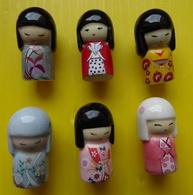 Fève  - Lot De 6 Fèves    Vahiné 2012 - Poupée Japonaise - Kimmidoll - Personnages