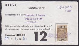 Portugal, 1961 - GAZ CIDLA / Contract Receipt - Odivelas - Portugal