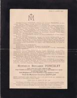 ANS LIEGE Benjamin PONCELET 93 Ans 1896 Ancien Bourgmestre De NEUFCHATEAU Veuf GOFFLOT Famille WILMOTTE Alliance CHANSAY - Décès