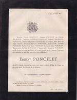 ESNEUX LIEGE Ernest PONCELET 12 Ans 1883  Famille WILMOTTE Alliance CHANSAY - Décès