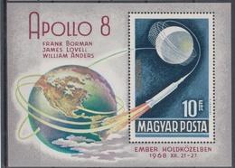 HUNGARY 1968 SPACE APOLLO 8 FRANK BORMAN JAMES LOVELL WILLIAM ANDERS S/SHEET - Spazio