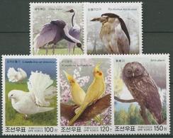 Korea (Nord) 2003 Vögel: Waldkauz, Haustaube, Nymphensittich 4686/90 Postfrisch - Korea (Nord-)