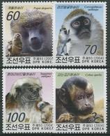 Korea (Nord) 2004 Affen: Gelber Pavian, Lisztaffe, Meerkatze 4723/26 Postfrisch - Korea (Nord-)