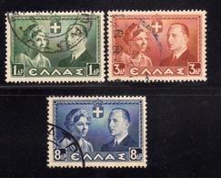 GREECE GRECIA HELLAS 1938 ROYAL WEDDING ISSUE COMPLETE SET SERIE COMPLETA USED USATA OBLITERE' - Usati
