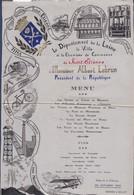 MENU RECEPTION DU PRESIDENT A. LEBRUN CHAMBRE DE COMMERCE ST ETIENNE 22/10/1933 BRODE SUR TISSUS - Menus