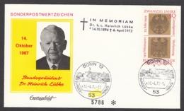 Germany-BRD - Sonderkuvert-Beleg 1972 - MiNr. 585 - In Memoriam Bundespräsident Dr. Heinrich Lübke - BRD