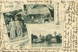 Indonesia, CELEBES SULAWESI MAKASSAR, Native Girls House Fello (1903) Postcard - Indonesië