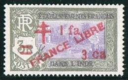 INDE ßurcharge «Croix De Lorraine Et FRANCE LIBRE» 1 Fa 3 Ca Sur 3R   Maury  256  ** - Indien (1892-1954)