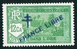 INDE Surcharge »Croix De Lorraine Et FRANCE LIBRE»  Maury  204IIa ** Signé - Indien (1892-1954)