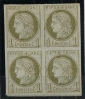 Colonies Générales - 1872 - N°Yv. 14 - Cérès 1c Olive - Bloc De De 4 - Neuf (*) / MNG - Ceres