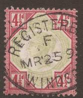 GREAT BRITAIN. QV. 1887. 4d POSTMARK REGISTERED WINDSOR. USED. - 1840-1901 (Victoria)