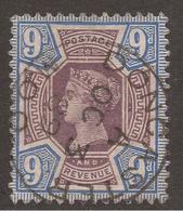 GREAT BRITAIN. QV. 9d PURPLE & BLUE. POSTMARK DONCASTER. USED. - 1840-1901 (Victoria)