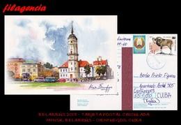 EUROPA. BIELORRUSIA. ENTEROS POSTALES. TARJETA POSTAL CIRCULADA 2018. MINSK. BIELORRUSIA-CIENFUEGOS. CUBA. MUFLÓN - Bielorrusia