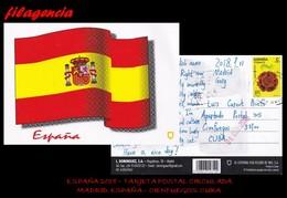 EUROPA. ESPAÑA. ENTEROS POSTALES. TARJETA POSTAL CIRCULADA 2018. MADRID. ESPAÑA-CIENFUEGOS. CUBA. FLORES. BANDERAS - 1931-Hoy: 2ª República - ... Juan Carlos I
