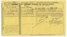 FRANCE - Chemins De Fer P.L.M. - Permis De Circulation Pour Un Seul Voyage 1936/37 - 1ere Classe - Railway