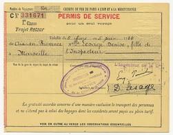 FRANCE - Chemins De Fer P.L.M. - Permis De Service Pour Un Seul Voyage 1934 - 1ere Cl. Aix En Provence / Marseille - Railway