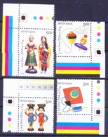 India 2010 MNH 4v Corners, Children Day, Toys, Kite, Dolls, Top, Indipex    ( - Puppen