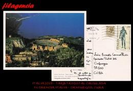 EUROPA. ITALIA. ENTEROS POSTALES. TARJETA POSTAL CIRCULADA 2018. FLORENCIA. ITALIA-CIENFUEGOS. CUBA. ARQUEOLOGÍA - 6. 1946-.. República