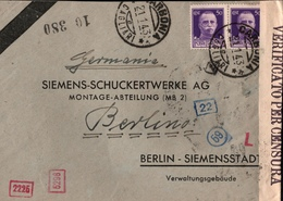 ! 1943 Carbonia, Cagliari, Brief Mit OKW Zensur, Censure, Censor, Censura, Berlin, Siemensstadt - Marcofilía