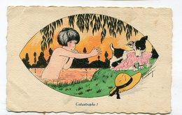 CPA Illustrateur :  Catastrophe  Fillette Et Chien   VOIR DESCRIPTIF  §§§§§ - Illustratori & Fotografie