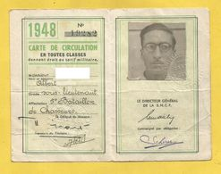 CARTE CHEMIN FER 1948 MILITAIRE SOUS LIEUTENANT CHASSEURS TARIF MILITAIRE SNCF - Titres De Transport