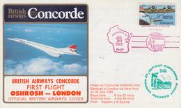 Enveloppe  U.S.A   1er   Vol    British  Airways    CONCORDE     OSHKOSH - LONDON    1985 - Concorde